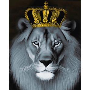 Фото холста Лев с золотой короной Алмазная мозаика на подрамнике LG235