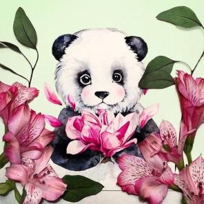 Панда в цветах Алмазная вышивка мозаика Гранни AG2353