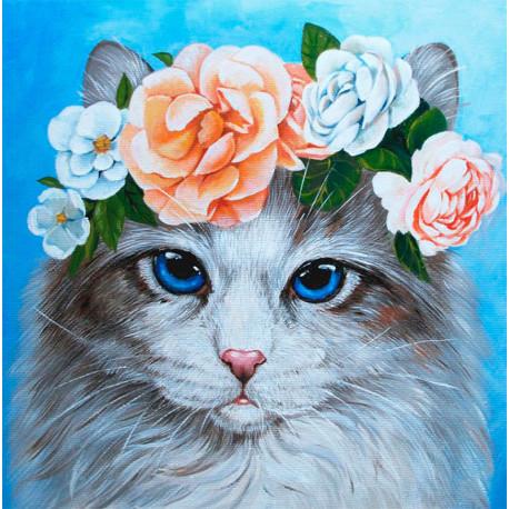 Голубоглазый кот в цветах Алмазная вышивка мозаика Гранни AG2439