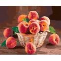 Корзина персиков Раскраска картина по номерам на холсте