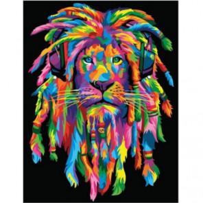 Стильный радужный лев Раскраска картина по номерам на холсте