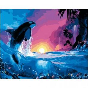 Дельфин на закате Раскраска картина по номерам на холсте