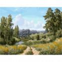 Мостик через речку Раскраска картина по номерам на холсте