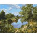 Пейзаж с рекой Раскраска картина по номерам на холсте