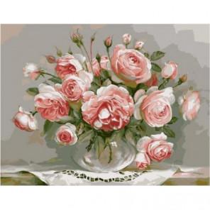 Розы в стеклянной вазочке Раскраска картина по номерам на холсте