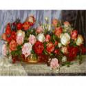 Розы Раскраска картина по номерам на холсте