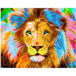 Зеленоглазый лев Раскраска картина по номерам на холсте