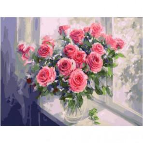 Свежие розы на подоконнике Раскраска картина по номерам на холсте