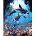 Подводный мир дельфинов Раскраска картина по номерам на холсте GX36069
