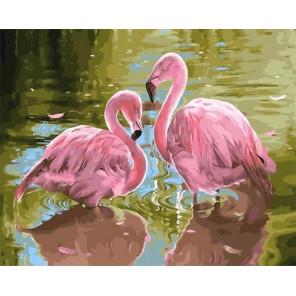Сложность и количество цветов Розовые фламинго Раскраска картина по номерам на холсте МСА706
