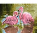 Розовые фламинго Раскраска картина по номерам на холсте МСА706