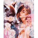 Девушка и черный волк Раскраска картина по номерам на холсте GX31443