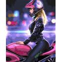 На розовом байке Раскраска картина по номерам на холсте GX31796