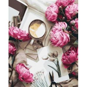 Пионы и кофе Раскраска картина по номерам на холсте GX32978