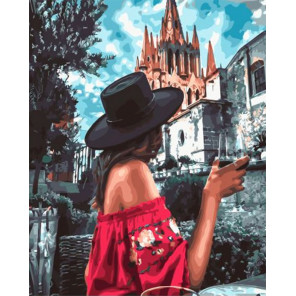 Девушка в черной шляпе Раскраска картина по номерам на холсте GX32985