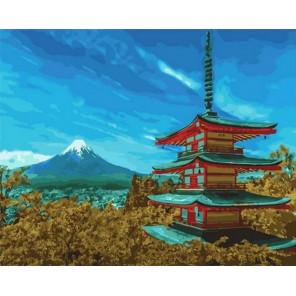Пагода у Фудзиямы Раскраска картина по номерам на холсте GX35200