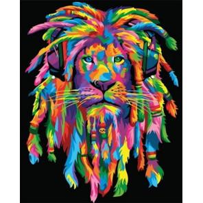 Сложность и количество цветов Радужный лев - регги Раскраска картина по номерам на холсте GX35746