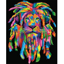 Радужный лев - регги Раскраска картина по номерам на холсте GX35746