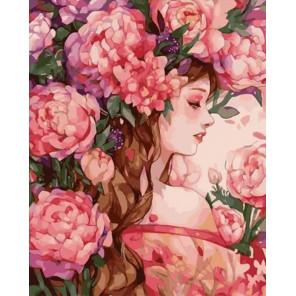 Девушка в цветах Раскраска картина по номерам на холсте GX35774