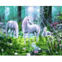 Единороги на поляне в лесу Раскраска картина по номерам на холсте GX36014