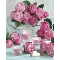 Розовые свечи Раскраска картина по номерам на холсте GX36024