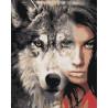 Девушка волчица Раскраска картина по номерам на холсте AIPA-a-dv11