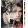 Холст с палитрой цветов Девушка волчица Раскраска картина по номерам на холсте AIPA-a-dv11