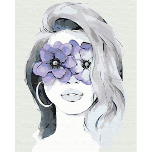 Девушка фиалка Раскраска картина по номерам на холсте AAAA-CG00011-80x100