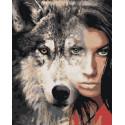 Девушка волчица Раскраска картина по номерам на холсте AIPA-a-dv11-80x100