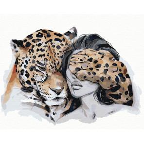 Оберег. Леопард Раскраска картина по номерам на холсте AIPA-NP1-80x100