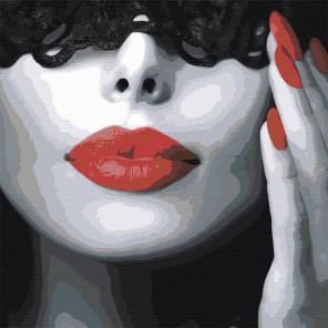 Холст с палитрой цветов Девушка с красной помадой Раскраска картина по номерам на холсте AAAA-ST1