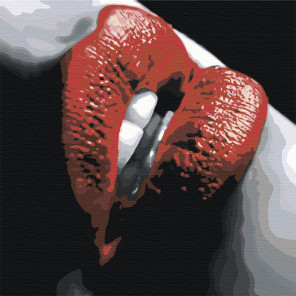 Губы с красной помадой Раскраска картина по номерам на холсте AAAA-ST2