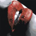 Губы с красной помадой Раскраска картина по номерам на холсте AAAA-ST2-100x100