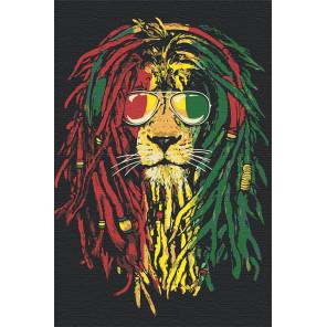 Палитра используемых цветов Лев в наушниках Раскраска картина по номерам на холсте AAAA-JV6
