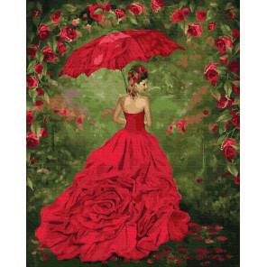 Красное бальное платье Раскраска картина по номерам на холсте ZX 23818