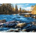 Осень на речных порогах Раскраска картина по номерам на холсте ZX 23675