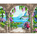Цветущая беседка на берегу Раскраска картина по номерам на холсте ZX 23581