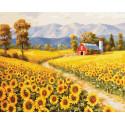 Ферма в подсолнухах Раскраска картина по номерам на холсте ZX 23738