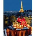 Ужин при свечах в Париже Раскраска картина по номерам на холсте ZX 23606