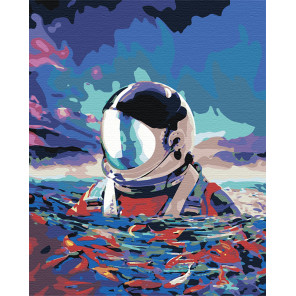 Астронавт в море Раскраска картина по номерам на холсте AAAA-RS001