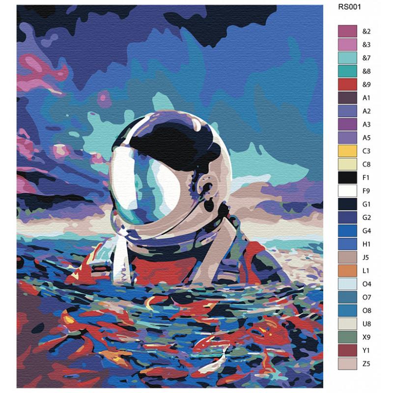 AAAA-RS001 Астронавт в море Раскраска картина по номерам ...