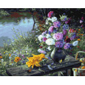 Кувшин цветов у реки Раскраска картина по номерам на холсте ZX 23593