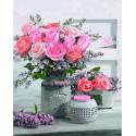 Натюрморт с розами в белой вазе Раскраска картина по номерам на холсте ZX 23703
