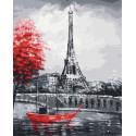Красная лодка на Сене Раскраска картина по номерам на холсте ZX 23836