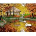 Лебединный пруд осенью Раскраска картина по номерам на холсте ZX 23857