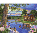Утиный пруд Раскраска картина по номерам на холсте ZX 23697