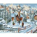 Заснеженная дорога к дому Раскраска картина по номерам на холсте ZX 23681