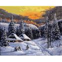 Домики в зимнем лесу Раскраска картина по номерам на холсте ZX 23617