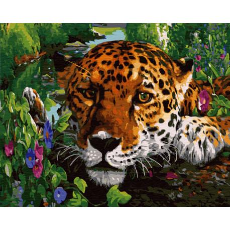 ZX 23701 Пятнистый хищник на отдыхе Раскраска картина по ...