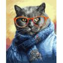 Кот ученый Раскраска картина по номерам на холсте ZX 23822
